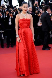 Bella Hadid Grid Red Long A line Red Carpet Celebrity Prom Dress Cannes 2017