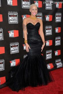 amber rose dress critics choice movie black tulle corset trumpet prom gown