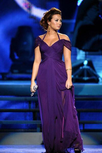 demi lovato celebrity purple dress grammy awards off the shoulder halter v neck