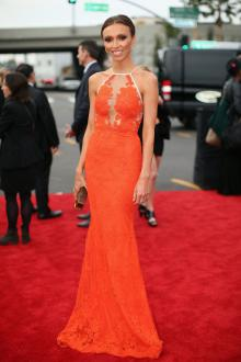 giuliana rancic dress grammy awards red carpet orange lace mermaid prom gown