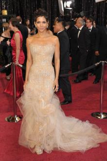 halle berry strapless embroidered cream satin celebrity prom dress oscar