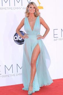 heidi klum light blue chiffon sexy v cut prom dress emmy awards red carpet