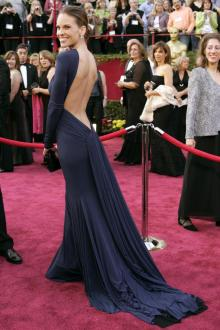 hilary swank backless long sleeve navy evening formal dress oscar red carpet