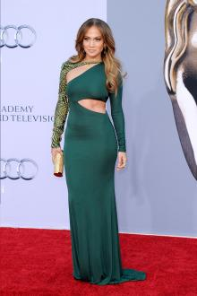 jennifer lopez green long sleeve mermaid evening prom dress bafta red carpet