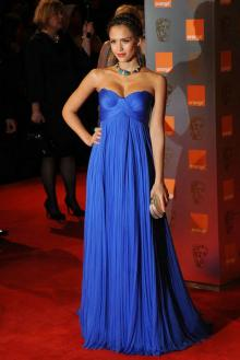jessica alba blue formal dress on bafta awards pleated chiffon evening prom dress