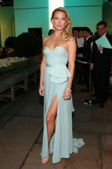 kate hudson tiffany blue chiffon sexy slit strapless cocktail prom dress