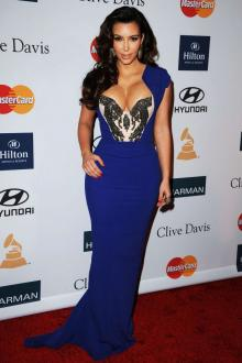 kim kardashian blue dress grammy awards beaded elegant sheath evening dress