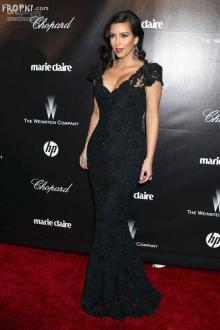 kim kardashian dress golden globes black sequin lace mermaid evening dress