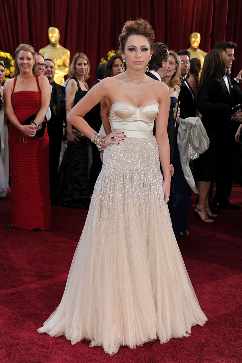 miley cyrus champagne beaded red carpet a line prom dress oscar awards
