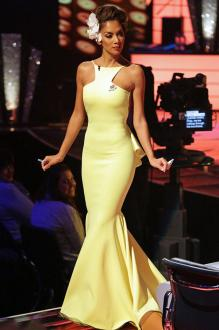 nicole scherzinger backless lemon evening prom dress