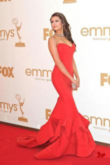 nina dobrev dress in emmys cascade ruffled trumpet strapless celebrity prom gown