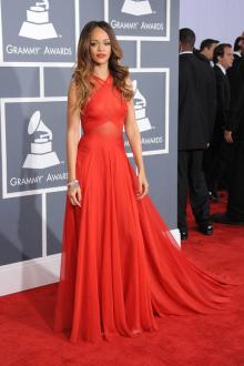 rihanna red carpet dress grammy awards criss cross strap celebrity prom dress