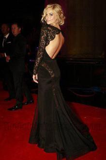 samara weaving sheer black lace and satin long sleeve evening dress logie awards
