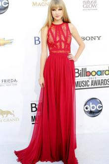 taylor swift billboard lace and chiffon sleeveless red carpet dress
