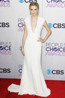 taylor swift peoples choice celebrity ivory slim a line v neck red carpet dress