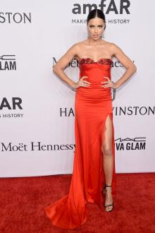 adriana lima beaded sweetheart red carpet celebrity prom dress amfar