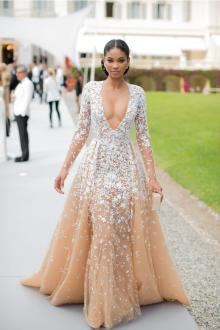 chanel iman floral lace appliques v neck champagne tulle prom evening dress