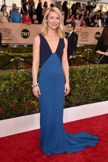 claire danes two tone blue v neck celebrity evening dress