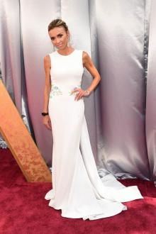 giuliana rancic floral white mermaid evening dress oscars 2016 red carpet