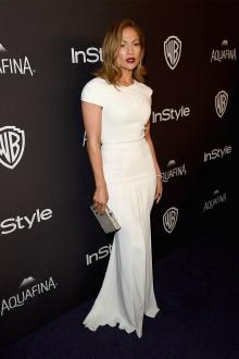 jennifer lopez cap sleeve white evening dress golden globes after party