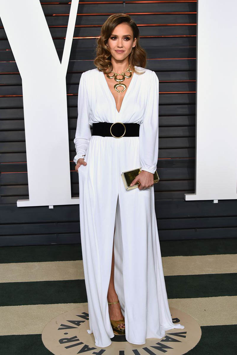 jessica alba casual white chiffon long sleeve evening dress