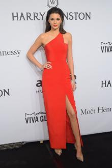 kendall jenner hot red one shoulder evening prom dress 2015 amfar new york