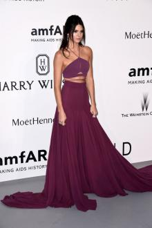 kendall jenner two piece wine spaghetti halter prom dress cannes amfar gala
