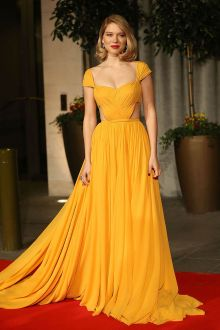 lea seydoux bright yellow celebrity prom dress bafta awards