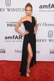 romee strijd little black one shoulder prom dress 2016 amfar