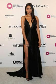 shanina shaik deep v neck black open back prom dress oscars