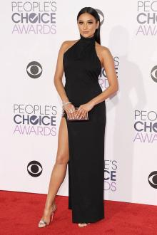 shay mitchell cool high neck black prom dress 2016 peoples choice awards