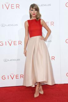 taylor swift two tone tea length satin prom dress the giver red carpet