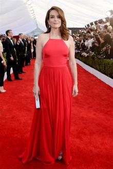 tina fey red a line spaghetti strap halter prom dress
