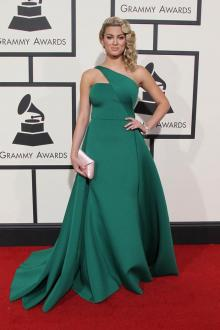 2773bee006e tori kelly green satin one shoulder prom dress grammys 2016 red carpet