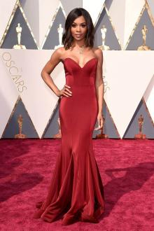 zuri hall ruby red slim trumpet evening prom dress oscars
